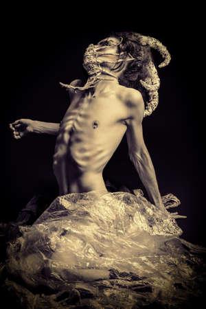 aliens: Frightening mythical creature male. Alien creature. Horror. Halloween.