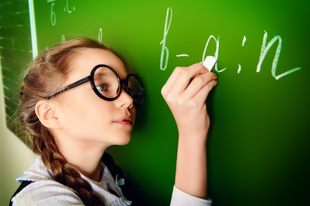 Smiling schoolgirl performs the task at the blackboard. Education. photo