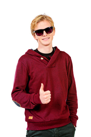 High school student: Portrait of young man in casual clothes. Isolated over white.