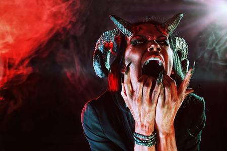 satan: Portrait of a devil with horns. Fantasy. Art project. Stock Photo