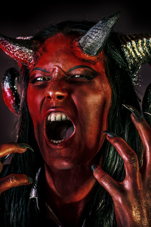 devil horns: Portrait of a devil with horns. Fantasy. Art project. Stock Photo