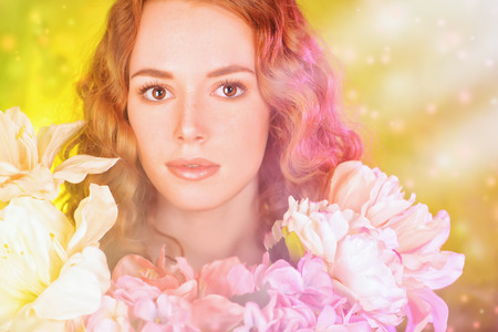 magic eye: Beautiful gentle girl with red hair among the flowers.    Stock Photo
