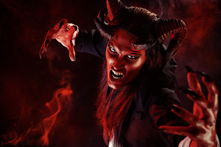 lucifer: Portrait of a devil with horns. Fantasy. Art project. Stock Photo