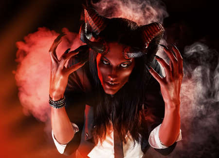 devil: Portrait of a devil with horns. Fantasy. Art project. Stock Photo