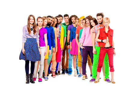Large group of cheerful young people. Full length portrait. Isolated over white. photo