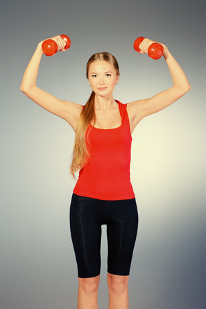 active lifestyle: Young slender woman goes in for sports. Active lifestyle. Stock Photo