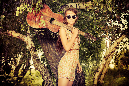 sexy guitar: Romantic girl travelling with her guitar. Summer. Hippie style.