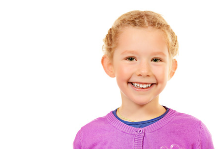 5 year old girl: Portrait of little smiling girl. Isolated white backround.