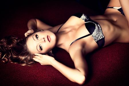 hot girl nude: Beautiful sensual woman in sexual lingerie.