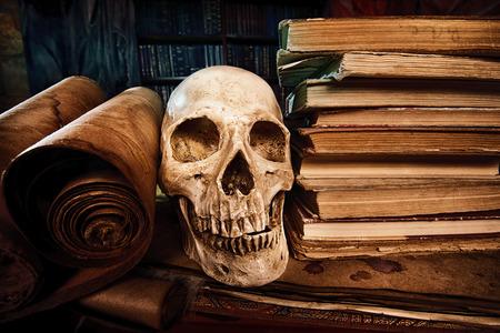 evil skull: Medieval alchemist laboratory. Halloween. Fairy-tale interior. Stock Photo