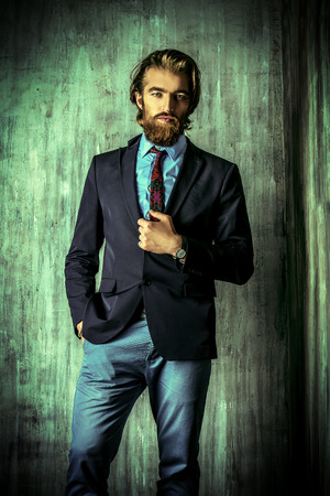 respectable: Portrait of a respectable handsome man in a suit. Mens fashion.