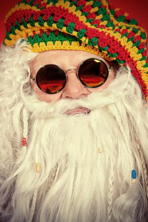 rasta: Close-up portrait of a casual Santa Claus hippie.