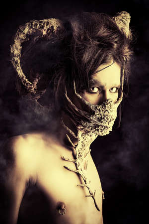 Frightening mythical creature male. Alien creature. Horror. Halloween. photo