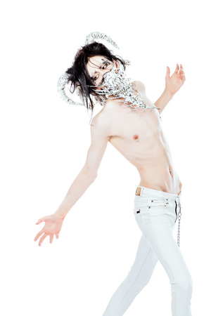 scrawny: Mythical creature male. Alien creature. Horror. Halloween. Isolated over white. Stock Photo