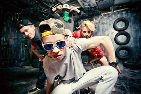 urban dance: Modern dancers dancing in the garage. Urban lifestyle. Hip-hop generation.