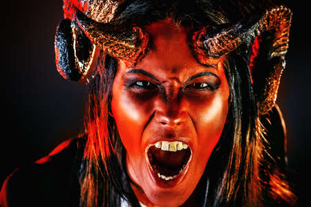 diabolic: Portrait of a devil with horns. Fantasy. Art project. Stock Photo