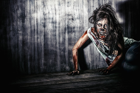 witch face: Furious bloody zombie girl. Horror. Halloween. Stock Photo