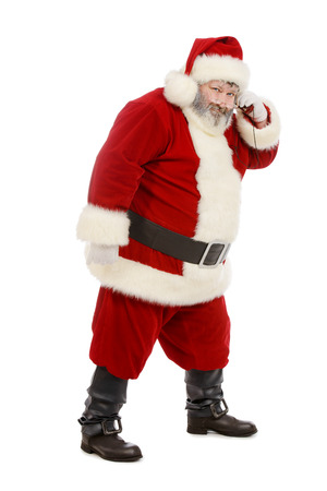 st  nicholas: Santa Claus standing isolated on white background Stock Photo