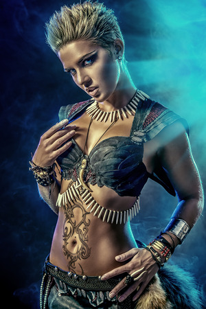 gladiator: Portrait of a beautiful female warrior. Ancient times. Amazon. Stock Photo