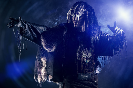 paganism: Ancient shaman warrior. Ethnic costume. Paganism, ritual.