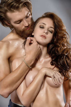 Portrait of a beautiful passionate lovers. Love concept.