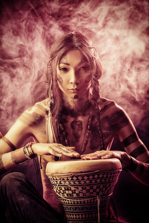 indian ethnicity: Portrait of the American Indian. Ethnicity and history. Art project. Stock Photo