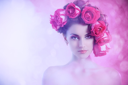 sexy bride: Beautiful tender girl with floral hairstyle. Roses. Cosmetics. Beauty, fashion. Spring and summer. Copy space. Stock Photo