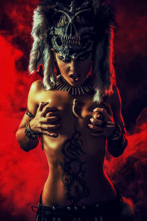 warrior girl: Amazing bellicose Amazon woman in battle. Ancient times. Fantasy. Stock Photo