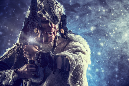 fantasy warrior: Ancient warrior Barbarian. Ethnic costume. Paganism, ritual.