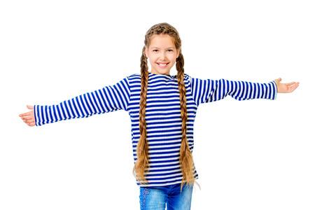 striped vest: Joyful teen girl wearing sailors striped vest. Studio shot. Isolated over white.