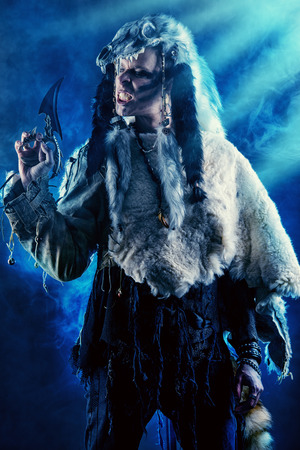 paganism: Ancient warrior Barbarian. Ethnic costume. Paganism, ritual.
