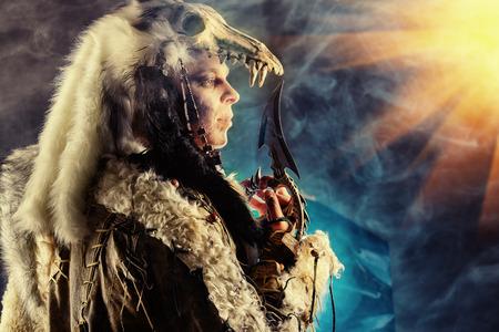 barbaric: Ancient warrior Barbarian. Ethnic costume. Paganism, ritual.