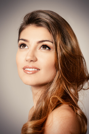 fresh face: Portrait of young woman with natural make-up and beautiful hair