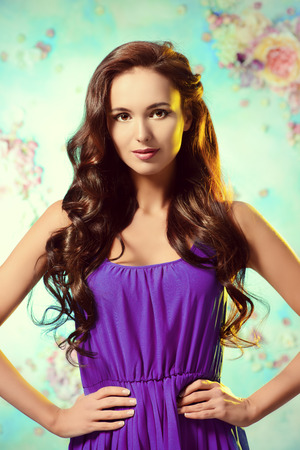 haircare: Portrait of young woman with beautiful long hair. Beauty, fashion. Hair, haircare. Stock Photo