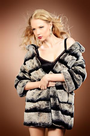 woman in fur coat: Fashion shot of a beautiful blonde woman wearing jewelry and fur coat. Studio shot. Stock Photo