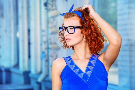 foxy girls: Pretty pin-up girl walking in the city. Beauty, fashion. Stock Photo