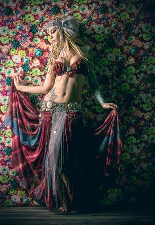 american sexy: Beautiful traditional female dancer. Ethnic dance. Belly dancing. Tribal dancing.