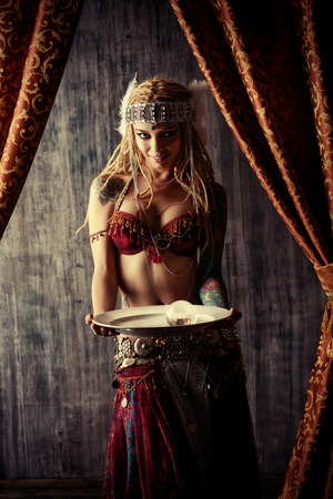 fortune teller: Magnificent fortune teller holding crystal ball. Divination. Magic. Halloween.