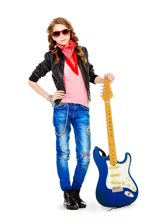 hardrock: Cute teen girl posing with her electric guitar. Isolated over white.