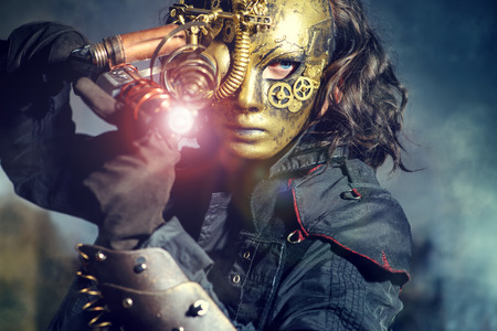 fantasy: Steampunk man wearing mask with various mechanical devices.  Fantasy.