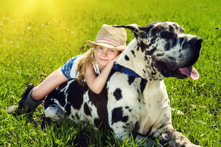 summer dog: Happy little girl with her mastiff dog on a meadow in summer day. Countryside.