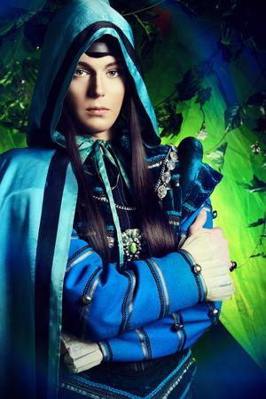 fairy forest: Noble fairy elf in the magic forest. Fantasy. Fairy tale, magic.