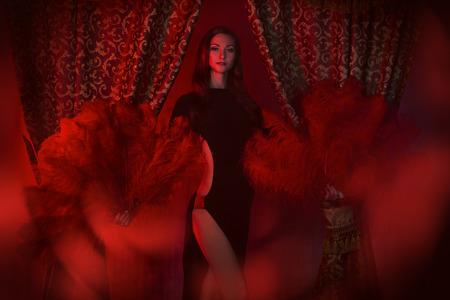 gogo girl: Schöner Tänzer auf der Bühne des Kabaretts. Performance. Schönheit, Mode. Lizenzfreie Bilder