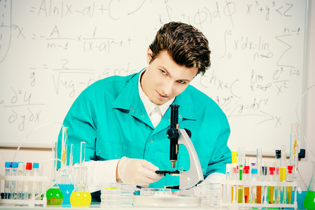 bacteriology: Male scientist working in the life science research laboratory (bacteriology, chemistry, genetics, forensics).