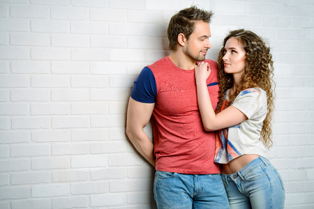 man woman hugging: Romantic young people in love. Happiness. Love concept. Stock Photo