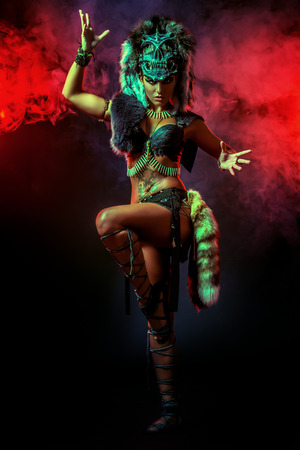 masked woman: Amazing bellicose Amazon woman in battle. Ancient times. Fantasy. Stock Photo