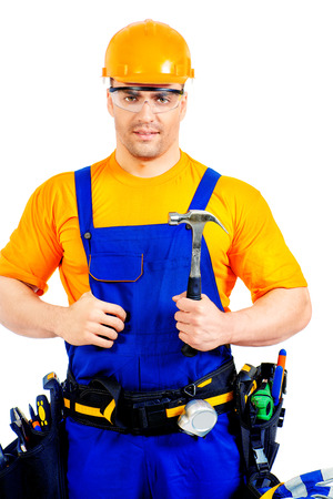 job occupation: An industrial worker wearing uniform and tools. Job, occupation. Isolated over white.