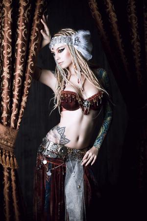 sexy tattoo: Beautiful traditional female dancer. Ethnic dance. Belly dancing. Tribal dancing.