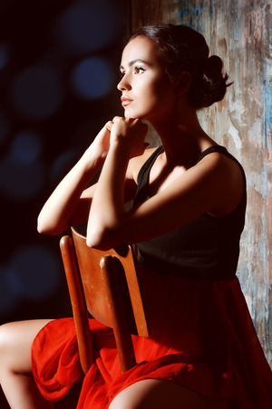 spanish girl: Art portrait of a beautiful Spanish girl. Latin dances. Stock Photo