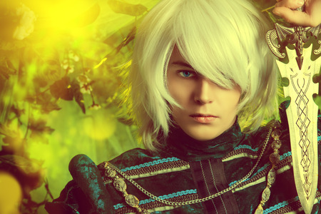 beautiful anime: Beautiful blond elf with a dagger in his hand in the magic forest. Fantasy. Anime style.